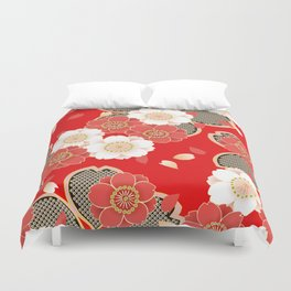 Japanese Vintage Red Black White Floral Kimono Pattern Duvet Cover