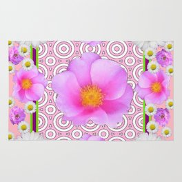 Pink on Pink Rose & Shasta Daisies Floral Abstract Rug