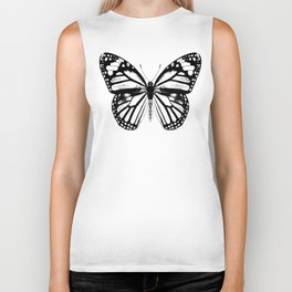 Monarch Butterfly   Black and White Biker Tank