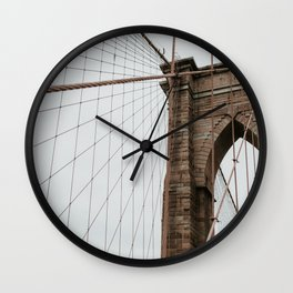 Brooklyn Bridge close up | Colourful Travel Photography | New York City, America (USA) Wall Clock