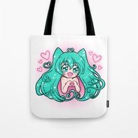 vocaloid Tote Bags featuring Vocaloid: Love Miku by Alice In Underwear