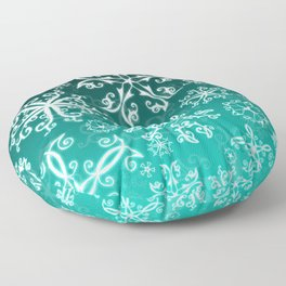 Symbols in Snowflakes on Winter Green Floor Pillow