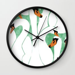 Swans, Colorful Wildlife Birds Painting, Jungle Pond Forest Animals Wild Illustration Wall Clock