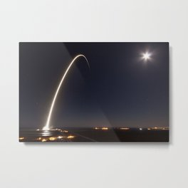 SpaceX Launch At Night Metal Print