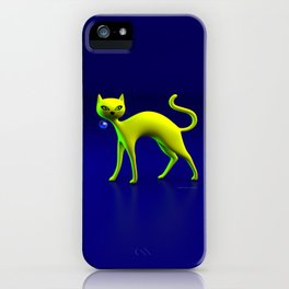 The Yellow Cat And Glass Blue Cherry iPhone Case