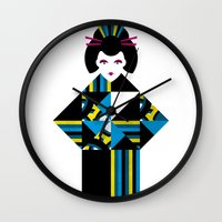 geisha Wall Clocks featuring GEISHA by Oscar Odd Diodoro