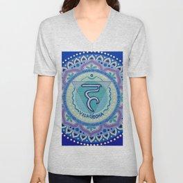 Throat Chakra Mandala (Blue) Unisex V-Neck