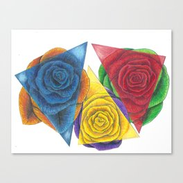 Complimentary Color Rose Trio With Geometric Triangles Canvas Print