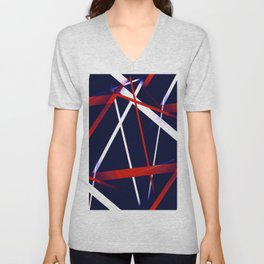 Seamless Red and White Stripes on A Blue Background Unisex V-Neck