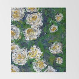 White flowers - Botanical Throw Blanket