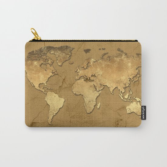 world map marble gold 3 Carry-All Pouch