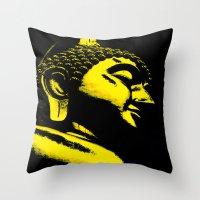 buddah Throw Pillows featuring Buddah Head 01; Gold  by Kether Carolus