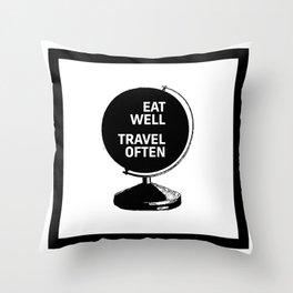 Motivational & Inspirational Quotes - Eat Well Travel Often MMS 476 Throw Pillow