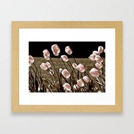Pink Tulips and Moonlight Framed Art Print