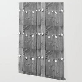 Stars on Wood (Black and White) Wallpaper