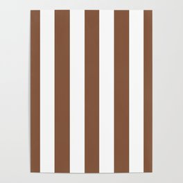 Milk chocolate brown - solid color - white vertical lines pattern Poster