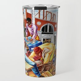 """African American Classical Masterpiece """"The building of Savery Library"""" by Hale Woodruff Travel Mug"""