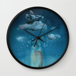 Moby Dick Dreams - Watercolor - Sperm Whale Wall Clock