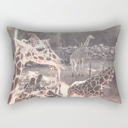 Giraffes // Spotted Long Neck Graceful Creatures in Wildlife Preserve Rectangular Pillow