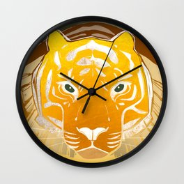 Golden Tiger Wall Clock