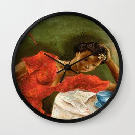 African American Masterpiece 'The Night Letter' by Eldzier Cortor Wall Clock