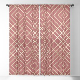 Modern Chinese Red Art Deco Geometric Pattern Sheer Curtain