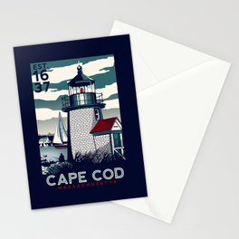 CAPE COD  Massachusetts Light House Retro Vintage nautical cape cod Stationery Cards