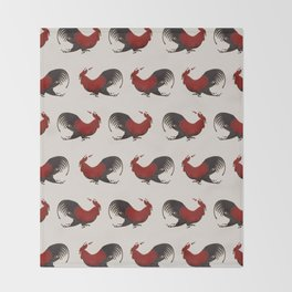 Running Roosters Throw Blanket
