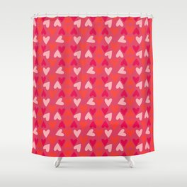 Hearts, Light Pink, Coral, and Pink 2 Shower Curtain