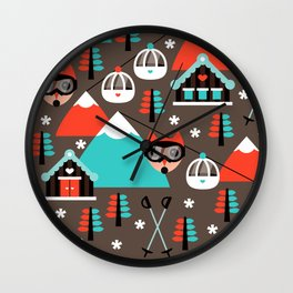 Winter Wonderland retro ski fox Wall Clock