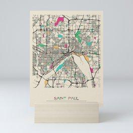 Colorful City Maps: Saint Paul, Minnesota Mini Art Print