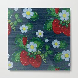 Strawberries and Daisies - Strawberry Patch  - Fruit Metal Print