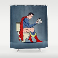 toilet Shower Curtains featuring Superhero On Toilet by WyattDesign