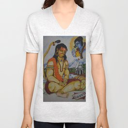 Painting of Lord Hanuman I Painting of Monkey King I Original painting of Amrita Gupta Unisex V-Neck