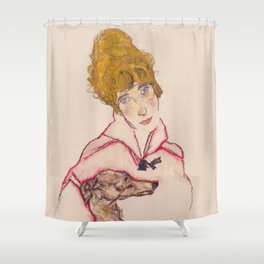 "Egon Schiele ""Edith Schiele mit Windhund"" Shower Curtain"
