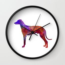 Hungarian Greyhound in watercolor Wall Clock