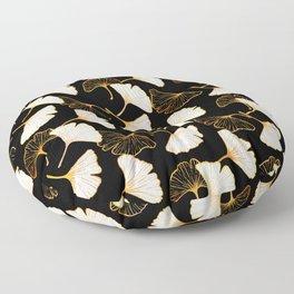 Ginkgo Leaf (Golden Calico) - Black Floor Pillow