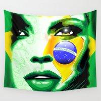 brazil Wall Tapestries featuring Brazil Flag Girl Portrait by BluedarkArt