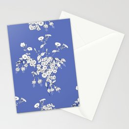 Bouquets of white flowers on a blue background Stationery Cards