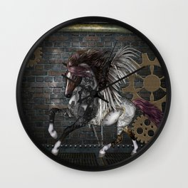 Steampunk, awesome steampunk horse with wings Wall Clock