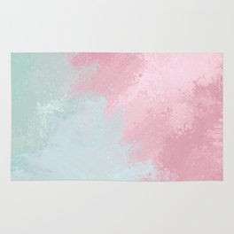 Modern abstract pink teal watercolor pattern Rug