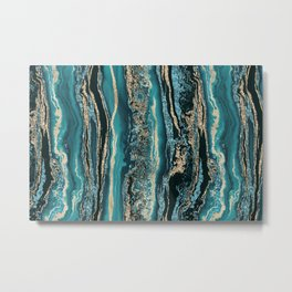 Turquoise Gold Sparkling Luxury Marble Gemstone Art Metal Print