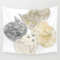 kittens Wall Tapestries featuring kittens by GPM Arts