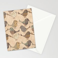 Nostalgic Autumn Patchwork Bird Pattern in warm retro colors #autumndecoration Stationery Cards