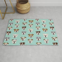 English Bulldog pattern print dog breed pet portrait gifts for dog owner bulldog Rug