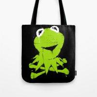 kermit Tote Bags featuring Pochoir - Kermit by Krikoui