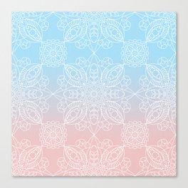Pastel Dreams Mandala on Blue and Pink Linen Canvas Print