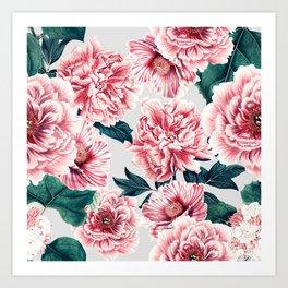 Pattern pink vintage peonies Art Print