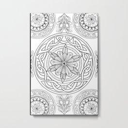 Circle Mandala Celtic Knot Pattern Black & Wite Metal Print