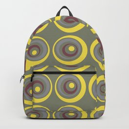 Green Red Yellow Grey Circle Dot Pattern Pantone 2021 Color of the Year Illuminating Ultimate Gray Backpack